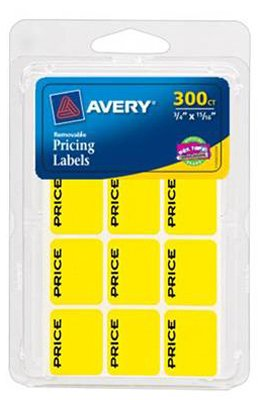 300PK YEL Price Label (Pack of 6) Avery Dennison Label Pads