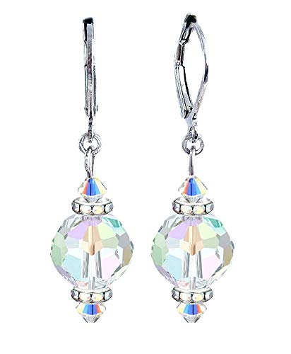 Round Crystal Bead Drop Earrings - Clear Iridescent - by A-Ha (FE543)