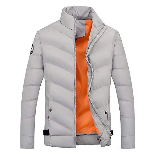 Stand Top Easy Uomo Coat Casual In Gray Zip Warm Outwear Da Winter Collar Shopping Go Giacca Jacket Cotone Camicetta qWOzwaRqr