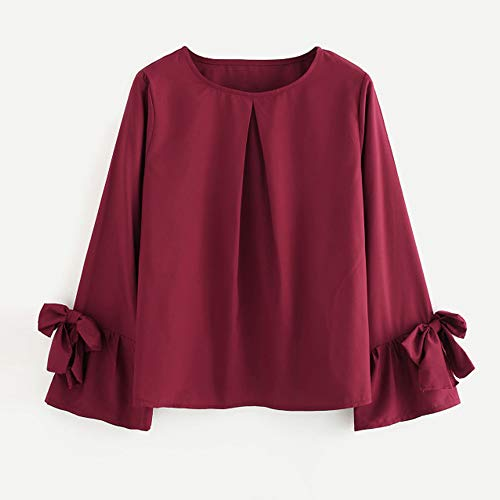 - Long Sleeve T Shirt for Women THENLIAN Fashion Womens Long Sleeve O Neck Bow Ruched Sweatshirt Casual Blouse Pullover(S, Wine red)
