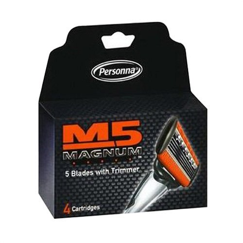 Personna, M5 Magnum razor Blades with Trimmer, 24 Cartridges  - 6 packages of 4 Cartridges for a total of 24 Cartridges