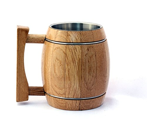 Oak Wood Barrel Traditional Beer Mug with Stainless Steel Insert Natural Eco-Friendly Gift - 530 Ml (18 oz) Beige By WoodTrim - Pack of 4 by WoodTrim