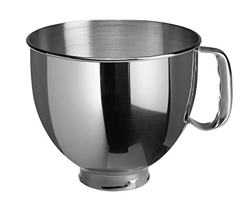 - KitchenAid K5THSBP Tilt-Head Mixer Bowl with Handle, Polished Stainless Steel, Polished Stainless Steel, 5-Quart