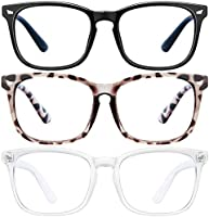 Blue Light Blocking Glasses-3Pack Computer Game Glasses Square Eyeglasses Frame, Blue Light Blocker Glasses for Women Men