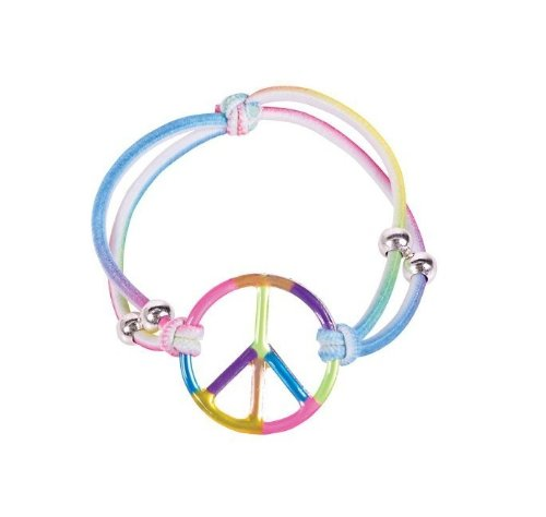 Girls Elastic Rainbow Peace Bracelets