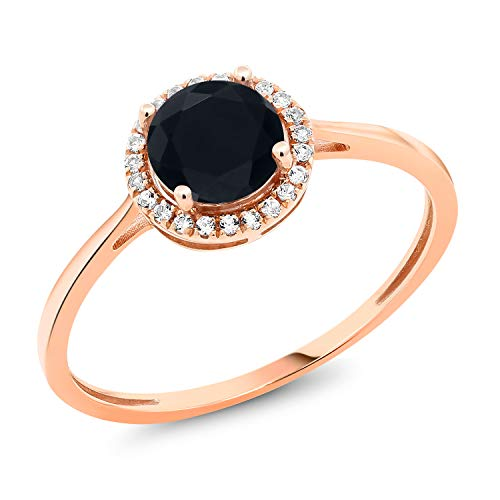 (Gem Stone King 0.92 Ct Round Black Onyx White Diamond 10K Rose Gold Ring (Size 8))