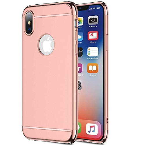 """Price comparison product image wantflyer iPhone Xs Max Case, 3 in 1 Ultra Thin Slim Hard Case Coated Non Slip Matte Surface Electroplate Frame Compatible Apple iPhone Xs Max(2018)(6.5"""")_Rose Gold"""