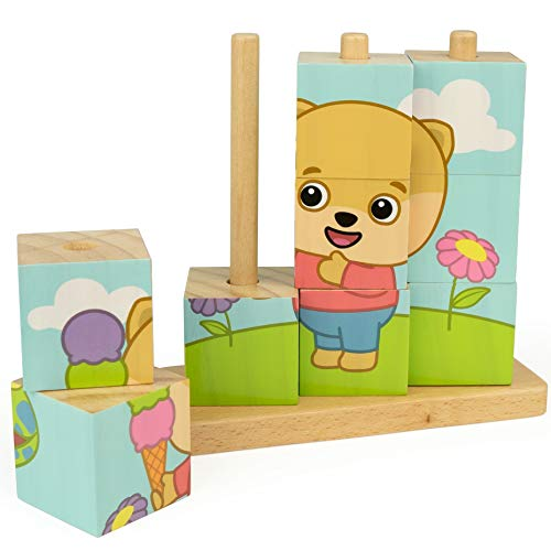 (Bimi Boo Animal Wooden Cube Puzzle Toy, 9 Blocks and 3 Pegs for Toddlers - 4 Puzzles in 1 Gift - Dog, Cat, Cow and Frog)
