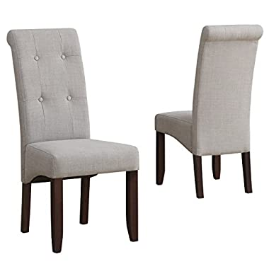 Simpli Home Cosmopolitan Deluxe Tufted Parson Chair, Dove Grey (Set of 2)