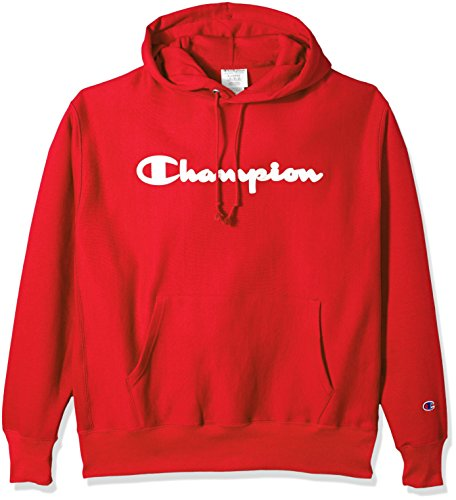 Pullover Scarlet Sweatshirt (Champion LIFE Men's Reverse Weave Pullover Hoodie, Team Red Scarlet/Champion Script, L)