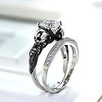 jindarat shop New 925 Silver White Sapphire Wedding Anniversary Skull Ring Women Jewelry Set (7)