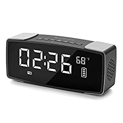 SMARTRO Alarm Clock Bluetooth Speaker, Dual Alarm Clock Radio for Bedrooms, Bedside, Office, Travel, Heavy Sleepers, 7 Large LED Display, Digital FM Radio, Stereo Sound, Snooze, AC & Battery Operated