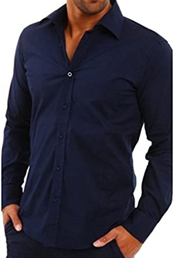 Vision-Camisa para hombre, color azul marino: Amazon.es: Ropa y accesorios