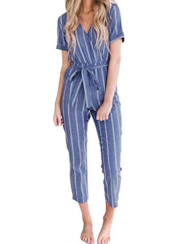 JINTING Striped Jumpsuits for Women Short Sleeve Casual Striped Jumpsuits Rompers with Pocket Belt Blue (Jumpsuit Wrap)