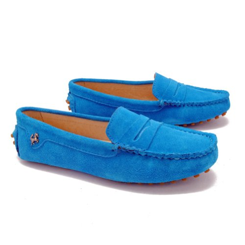 Minitoo Womens Casual Comfortable Blue Genuine Leather Running outdoor Boat Shoes Multi Colored 7 M US