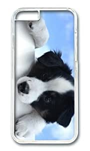 MOKSHOP Adorable black white dog Hard Case Protective Shell Cell Phone Cover For Apple Iphone 6 Plus (5.5 Inch) - PC Transparent