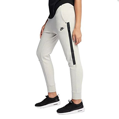 NIKE Womens Tech Fleece OG Pants Light Bone/Heather Black 683800-072 Size Large