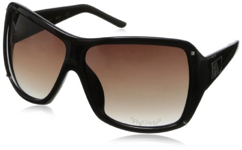 Black Flys On The Fly Wrap Sunglasses,Shiny Black,65 - Flys Black Sunglass
