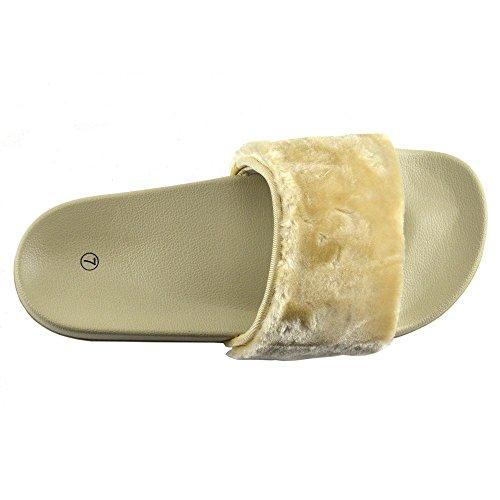 Slip Cursore Donna Pelliccia Muli Scarpe On Nudo Kick Footwear Slipper Sandali Flat Ciabatta tqY8Ww5