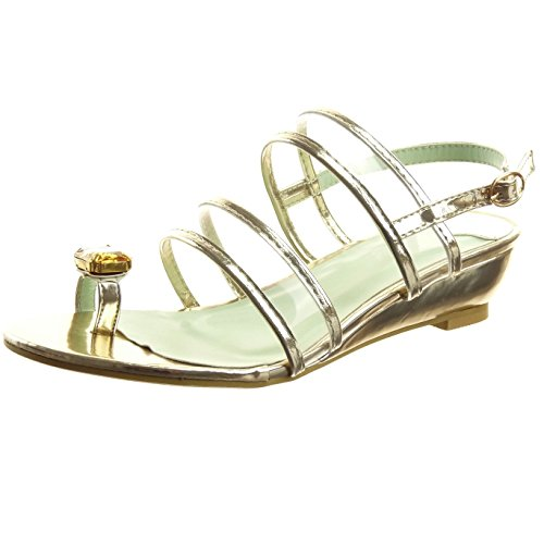 Sopily - damen Mode Schuhe Sandalen Offen Schmuck Schleife - Gold