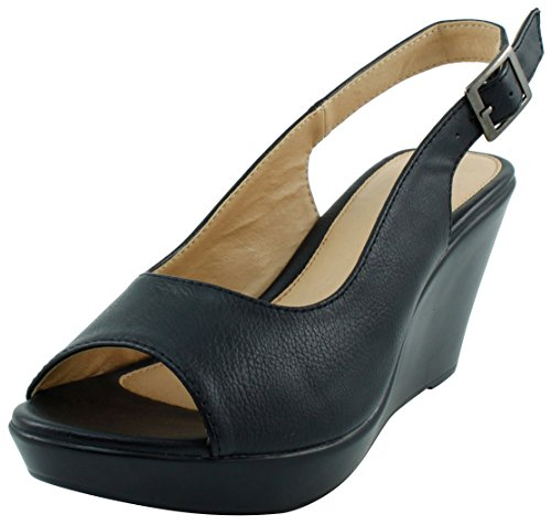 (Cambridge Select Women's Open Toe Slingback Platform Wedge Sandal (10 B(M) US, Black))