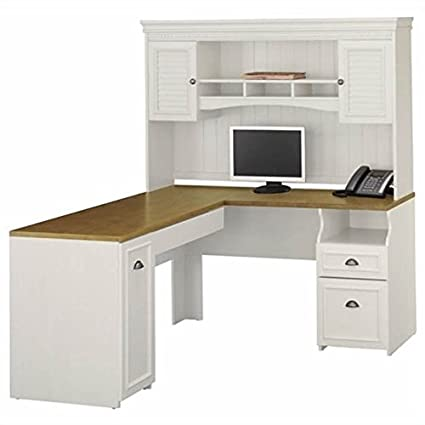 "Bush Fairview 60"" L-Shape Computer Desk with Hutch in Antique White - Amazon.com : Bush Fairview 60"