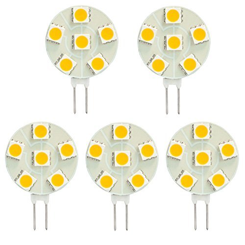 HERO-LED  SG4-6T-WW27 Side Pin G4 LED Disc Halogen Replacement Bulb, 1.2W, 10-15W Equal, Warm White 2700K, 5-Pack(Not Dimmable)