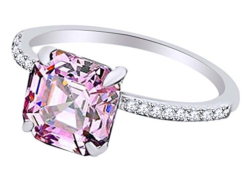 AFFY Asscher Simulated Pink Sapphire & White Cubic Zirconia Engagement Ring in 925 Sterling Silver (3.25 cttw) Ring Size-4