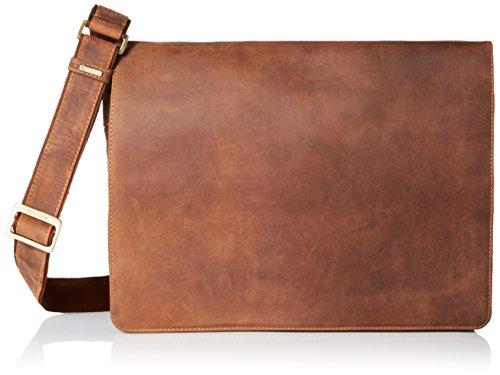 Visconti Leather Distressed Messenger Bag Harvard Collection, Tan