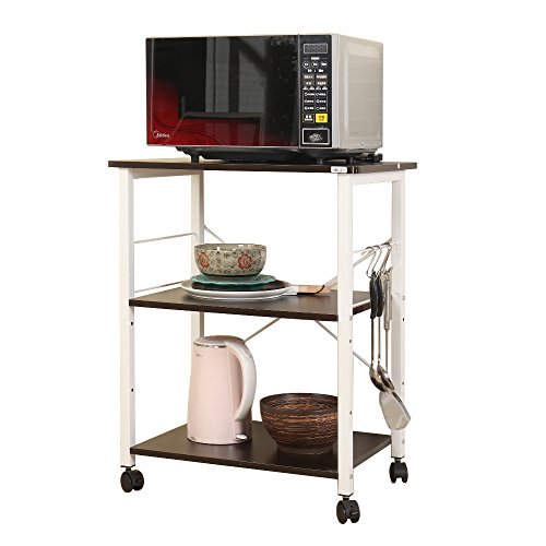 SogesHome 4-Tier Kitchen Baker's Rack Microwave Oven Stand Cart Storage Workstation Shelf,Black W4-BK-SH