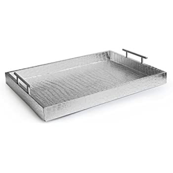 Accents by Jay Alligator Tray with Metal Handles, Silver