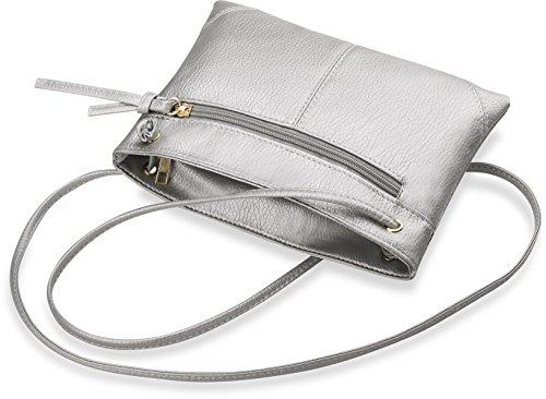 elegante Schultertasche praktische Damentasche Clutch – Tasche mit Trageriemen Umhängetasche silber