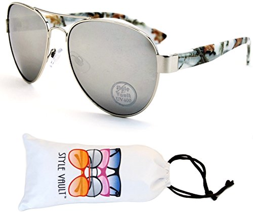 Av30-vp Aviator Pilot Retro 80s Metal Sunglasses (O2082B Silver/Marble-Silver Mirror, - Style Mirror 50s