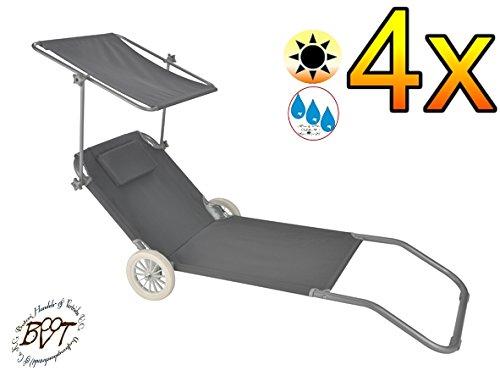 Strandliege mit rollen und dach  4 x Liege, stabile Gartenliege, klappbare Sonnenliege - anthrazit ...