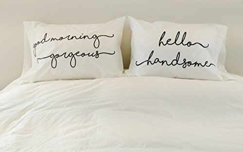 His and Hers Pillowcases Good Morning Gorgeous Hello Handsome Couples Pillowcases Wedding Gift Cute Pillowcases Funny Pillowcases with Quotes Pillowcases with Sayings