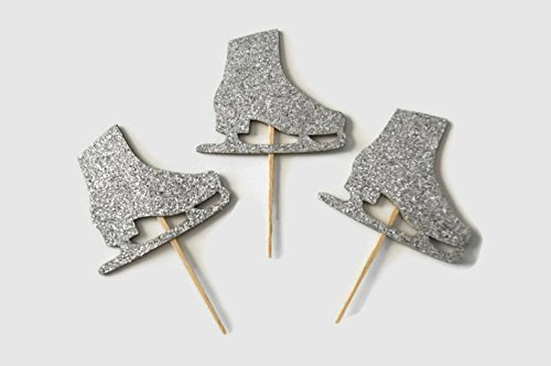 Ice Skate Cupcake Toppers in Silver Glitter Set of 12 (Ice Skating Party Supplies compare prices)
