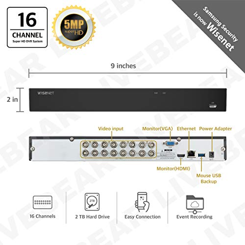 Wisenet SDH-C85105BF 16 Channel Super HD DVR Video Security