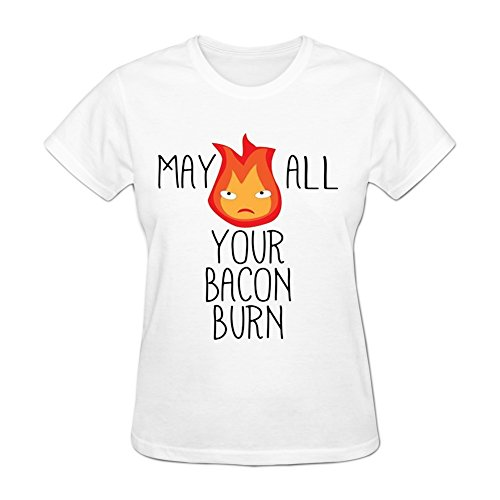 Shirley Mall Women's May All Your Bacon Short Sleeve T-Shirt XXL White (Shirley Tee Ladies)