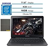 """2020 Samsung Chromebook 3 11.6"""" Laptop Computer for Business Student, Intel Atom X5 up to 2.0GHz, 4GB RAM, 16GB eMMC Storage, up to 11 Hrs Battery Life, 802.11ac WiFi, HDMI, Chrome OS, Laser Mouse Pad"""