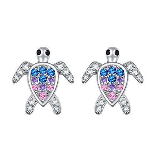 ALPHM S925 Sterling Silver Sea Ocean Turtle Stud Earring for Women Little Teen Girl