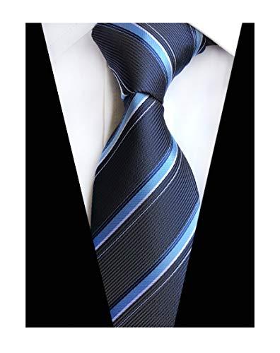 (Men's Navy Blue Silk Tie Mordern Luxury Unique Designer Cool Self Dress Necktie)