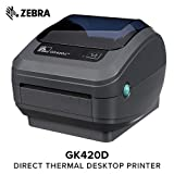 Zebra - GK420d Direct Thermal Desktop Printer for Labels, Receipts, Barcodes, Tags, and Wrist Bands - Print Width of 4 in - USB and Ethernet Port Connectivity