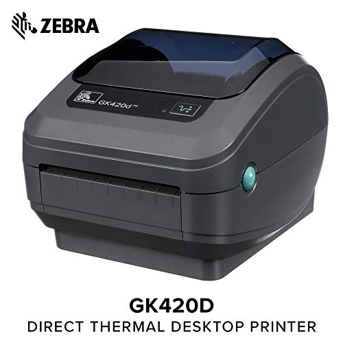 (Zebra - GK420d Direct Thermal Desktop Printer for Labels, Receipts, Barcodes, Tags, and Wrist Bands - Print Width of 4 in - USB and Ethernet Port Connectivity)
