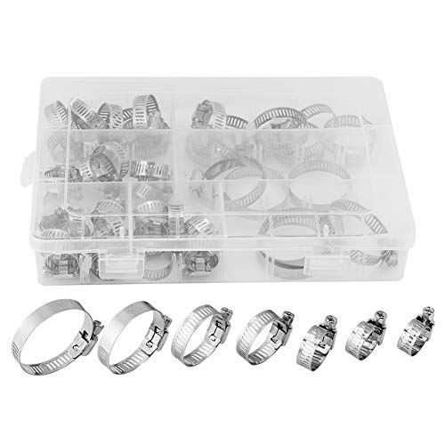 Fdit 50pcs Stainless Steel Hose Clamps Adjustable Tube Clamps Clip Lock Assortment Set for Plumping Piping10 Kinds of Size by Fdit (Image #1)
