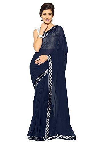Sourbh Mirchi Fashion Women's Faux Georgette Plastic Mirror Work Saree (3043_Navy Blue)