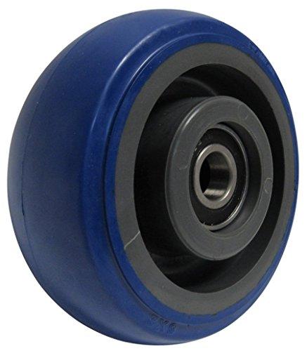 RWM Casters Signature Premium Rubber Wheel, Precision Ball Bearing, 500 lbs Capacity, 5' Wheel, Dia, 2' Wheel, Width, 2-7/16' Plate Length