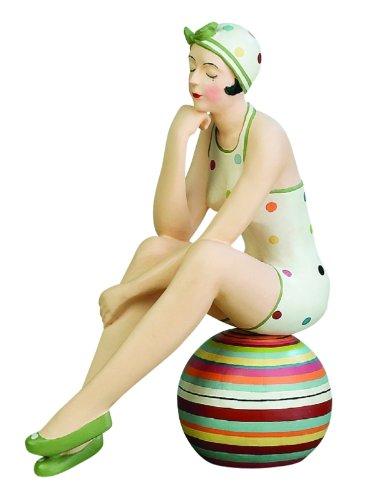 - Retro Bathing Beauty Figurine Statue   Swim Suit Beach Ball Green Polka Dot