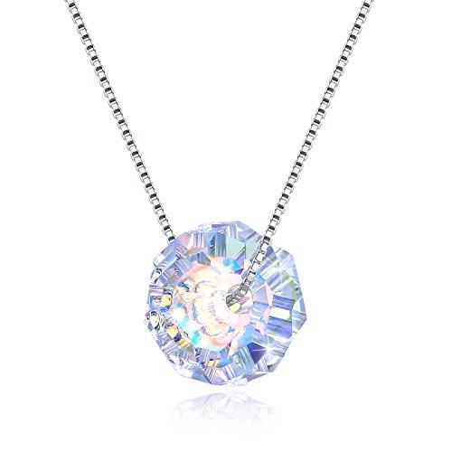 KNKNKN LEKANI 925 Sterling Silver Ladies Women Love Ball Swarovski Crystal Pendant Necklace Jewelry Gift