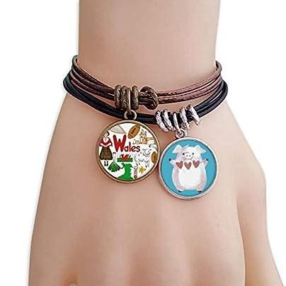 Wales Love Heart Landscap National Flag Bracelet Rope Wristband Pig Heart Love Set Estimated Price £9.99 -