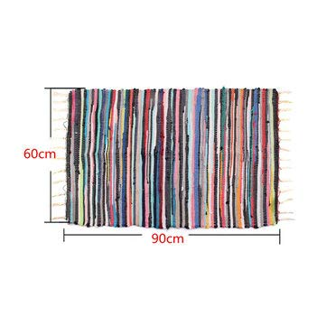 Large Size Handmade Mat Cotton Multicolor Braided Tassel Area Striped Floor Rugs Home Carosets - Carpets, Mats & Rugs Carpets & Rugs - (60cm x 90cm) - 1 x Handmade Cotton Rug